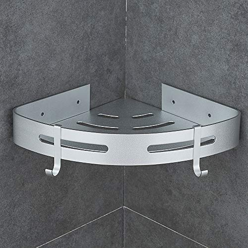 Hoomtaook Eckablage Duschkorb Duschablagen Ohne Bohren für Bad, Patentierter Kleber + Selbstklebender- Kleber, Aluminium, Matte Finish, Badregal (sIber H401) Selbstklebend,Weiß