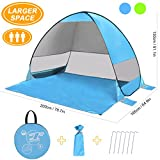 Pop up Tent, SLB Large Pop up Beach Tent, Automatic Sun Shelter with Water-resistant & UV Protection Design, Easy Set up in Seconds, Portable Sun Shade for Family Activities/Garden/Beach/Camping/Hiking/Picnic (For up to 3 Person) - Blue