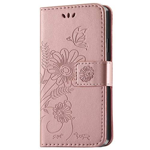 kazineer Cover Samsung S4 Mini, Cover Galaxy S4 Mini Flip Caso in Pelle Modello Fiore Portafoglio Custodia per Samsung Galaxy S4 Mini (Oro Rosa)