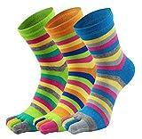 EEVASS Damen Fünf Zehensocken Baumwolle Bunt Muster Socken (#B)