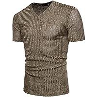 ZIYOU Herren Slim fit Kurzarm Pullover, Männer Mode T Shirt/Basic V-Ausschnitt Sweatshirt Sommer Herbst(,)