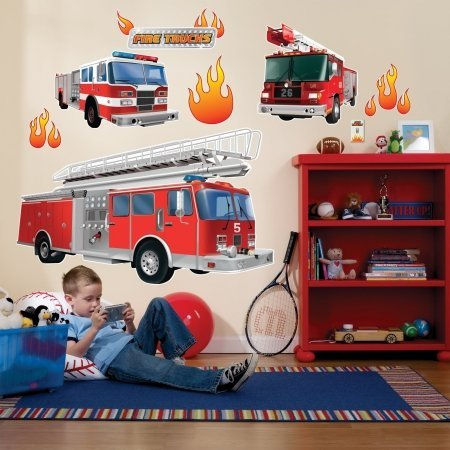 feuerwehrauto spielzeug gro  Party-Destination 159473 Fire Trucks Giant Wall Decals