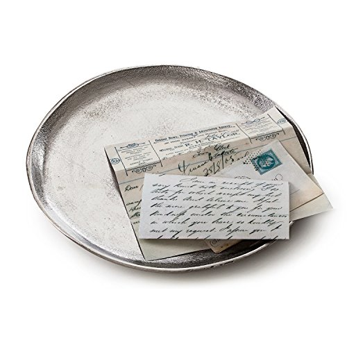 Loberon Tablett Boon, Aluminium, H/Ø ca. 2,5/30 cm, antiksilber