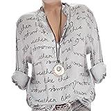GJKK Bluse Damen Reizvoller Übergröße V-Ausschnitt Taste Langarm Tops Frauen Herbst Langarmshirt Brief Gedruckt Tops Oberteil Lose Hemd Tunika