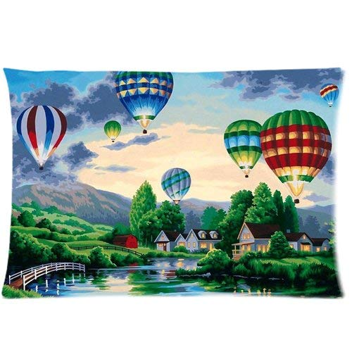 fujianshen Hot Air Balloon Painting Art Custom Zippered Pillow Cases Soft and Confortable 20