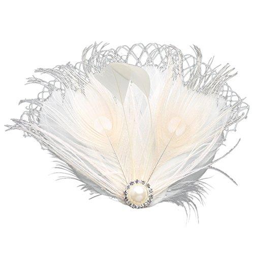 ArtiDeco 1920s Feder Fascinator Haarspange Hochzeit Braut Fascinator Schleier Showgirl Haarclip Gatsby Accessoires Damen Elegant Kopfstück Haar Zubehör (Weiß Stil 1)
