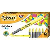 BIC Highlighter Grip - Caja de 12 marcadores fluorescentes, color amarilla