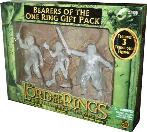 ToyBiz Year 2004 The Lord of the Rings Movie Series The Fellowship of the Ring Gift Pack - Bearers of the One Ring with 3 Translucent 4-1/2 Tall Action Figure (Prologue Bilbo with Sting-Slashing Action, Gollum and Twilight Frodo with Sword Slashin Action) (Wwe Sting-action-figur)
