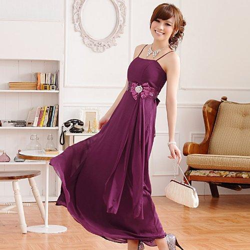 PLAER femmes Cocktail Prom robe de soirée Sling élégance Longue robe de mariage Violet