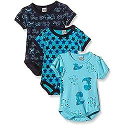Care Baby - Jungen Kurzarm-Body im 3er Pack, Blau (Dark Navy 778), 3 Monate (Herstellergröße: 62 )