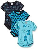 Care Baby - Jungen Kurzarm-Body im 3er Pack, All over print, Gr. 80, Blau (Dark Navy 778)
