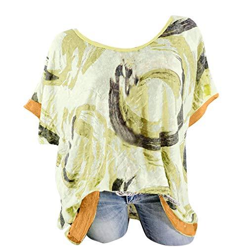 Ears Mode Damen T-Shirt O-Neck Tunika Plus Size Druck Tops Pailletten Kurzarm Easy Tops Bluse Kapuzenpullover Freizeit Print Shirt Freizeit Hemd Beiläufig Minikleid Atmungsaktives T-Shirt