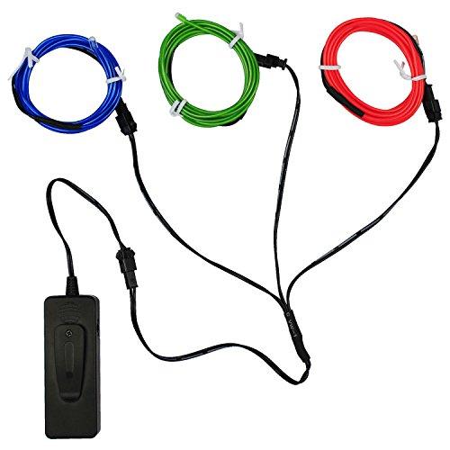 5FT / 1.5M Sound aktiviert Neon leuchtende Strobing Elektrolumineszenzdraht Ton aktivierte EL-Draht für Party-Tanz-Auto-Dekor Halloween Dekoration … (Blue green red)