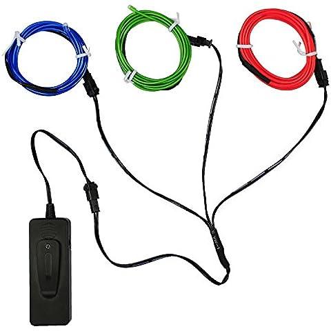 5FT / 1.5M sonido activado de neón que brillan intensamente del efecto estroboscópico electroluminiscente alambre (Sonido activado EL cable Azul Rojo Verde) para Dance Party coches Decoración Decoración de