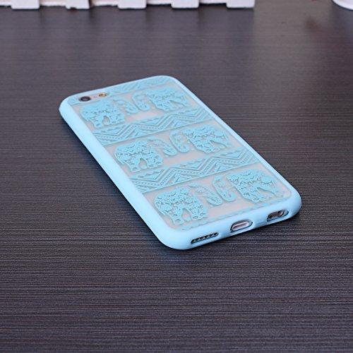 EKINHUI iPhone SE 5S 5 Case; Retour Housse de protection dure de PC avec le motif imprim¨¦ + TPU Bumper pour iPhone SE 5S 5 (Ethnic Tribal Henna-Red) Elephant-Blue