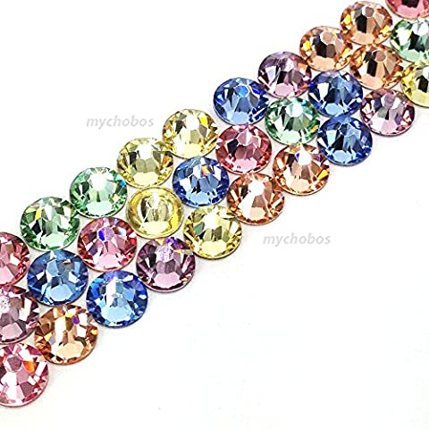 144 Swarovski 2058 Xilion / 2088 Xirius Rose crystal flat backs No-Hotfix nail art rhinestones BABY Colors Mix ss20 (4.7mm) **FREE Shipping from Mychobos (Crystal-Wholesale)**