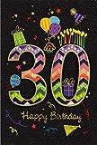 30. Geburtstag Glückwunschkarte Geburtstagskarte mit Zahl 30 Handmade Grußkarte 52-8830 (Schwarz-Bunt)