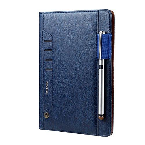 Preisvergleich Produktbild Samsung Galaxy Tab S4 Hülle mit Stifthalter 10, 5 Zoll ,  elecfan Leder Stand Folio Case Cover mit Pencil Halter für Samsung Galaxy Tab S4 10, 5 Zoll Tablet SM-T830 / T835 mit Auto aufwachen / Schlaf Funktion,  Dokumentenkarte Tasche - Blau