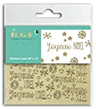 Toga Joyeux Noël Lot de 2 planches de stickers peel off, Plastique, Pailleté Or, Dimensions 10 x 10 cm