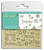 Toga Joyeux Noël Lot de 2 planches de stickers peel off, Plastique, Pailleté Or, Dimensions 10 x 10 cm