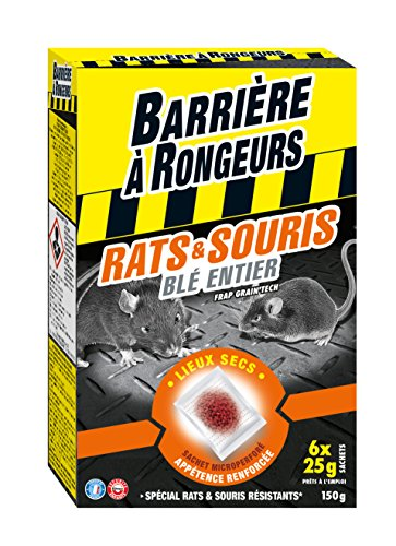 BARRIERE A RONGEURS BARASOCER150 Lutte contre Rats & Souris - Appât sur céréales Noir 11.5 x 4.2 x 18 cm 150 g