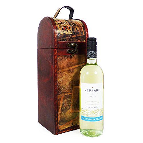 75cl Versare White Wine in a Quality Wooden Chateaux Style Chest - Gift idea for Mum, Mothers Day, Christmas , Birthday, Anniversary, Corporate, Business gifts, him, her, Dad, Fathers Day, Friend