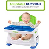 GoodLuck Baybee Comfort Folding Booster Seat|Toddlers Booster Seat For Eating With 3-Point Harness Secures Baby Tightly,Built-in Cup Holder (Green)
