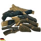 L'éthanol et cheminée gel combustible accessoires Céramique Déco Bois Massif bûche Set Lot de 10