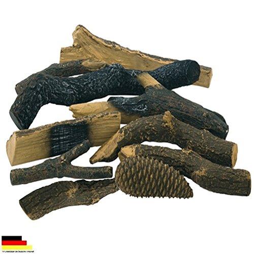Ethanol & Brenngel Kaminzubehör massives keramik Deko Hölzer Holzscheite Set 10 Stück