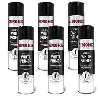 Simoniz 6 x WHITE PRIMER QUALITY AEROSOL SPRAY PAINT CANS 500ml