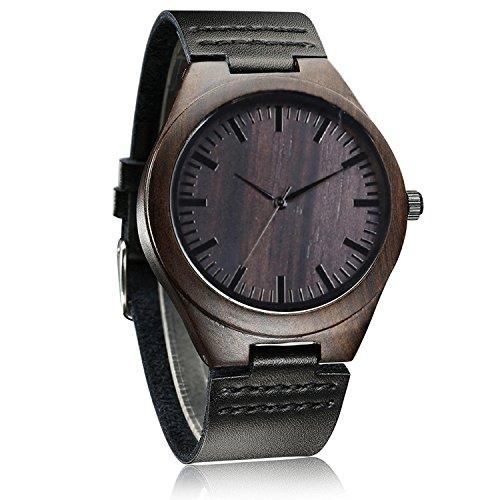 iMing Fatto a mano Orologio in legno naturale in vera pelle Band venatura del legno polso orologi regali (nero)