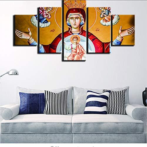 zlxzlx (Sin Marco) Modernopara PinturasImpresiones De ArteDecorativo5 Panel Virgen María Cuadro De Pared para Decoración del Hogar Pintura Habitación De Niños