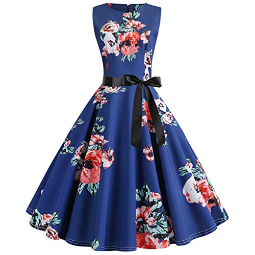 AIni Damen Vintage ÄRmelloses Elegant 50er Jahre Petticoat Kleider Gepunkte Rockabilly Kleider Cocktailkleider Partykleid Ballkleid Festkleid Print-vintage-mantel