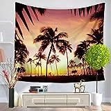 JokerDmask Tapisserie Wandteppich Wall Hanging Tapestry Bed Sheet Comforter Bedspread Beach Yoga Twilight Palme Schöne Landschaft 150cm * 150cm