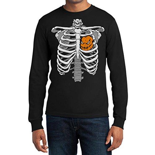 Skelett Brustkorb Mit Kürbis Halloween Langarm T-Shirt Medium Schwarz (Jack Halloween-kostüm Hearts Of)