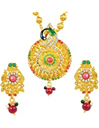 Dzinetrendz Gold Plated American Diamond (CZ) And Colourful Stone Studded Rasrawa Necklace With Earrings Jewellery...