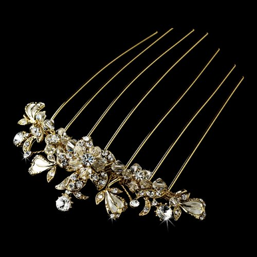 Fairytale Bridal Tiara Patrizia Alluring Rhinestones & Swarovski Crystals Wedding Bridal Hair Comb Gold