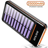 RLERON Power Bank 25000mah Portable Solar Charger, External Battery Pack with Three USB