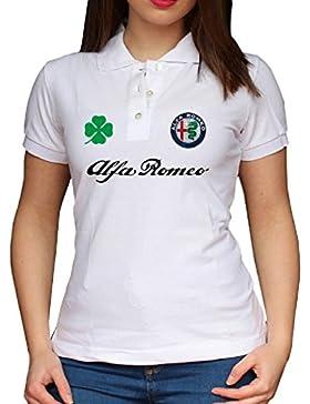 ZETAMARKT Polo Manica Corta Donna Alfa Romeo Style Racing Poloshirt Personalizzata Po.GIR03