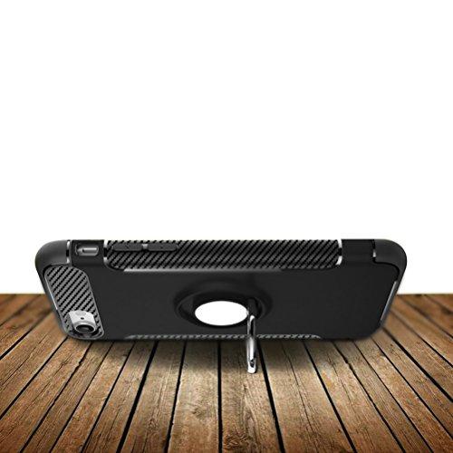 iPhone 7 Custodia con Protezion Schermo in Vetro Temperato, Blossom01 Hybrid Dual Layer Gel Silicone Morbido TPU Armatura Dura Heavy Duty Shockproof Casa con Supporto Dellanello Dellanello Rotante a Rosso