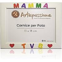 Cornici per foto in legno con la scritta Mamma TVB e decorata con cuoricini, da appoggiare o appendere, misura 13x18 cm Bianca. Ideale per regalo e ricordo.
