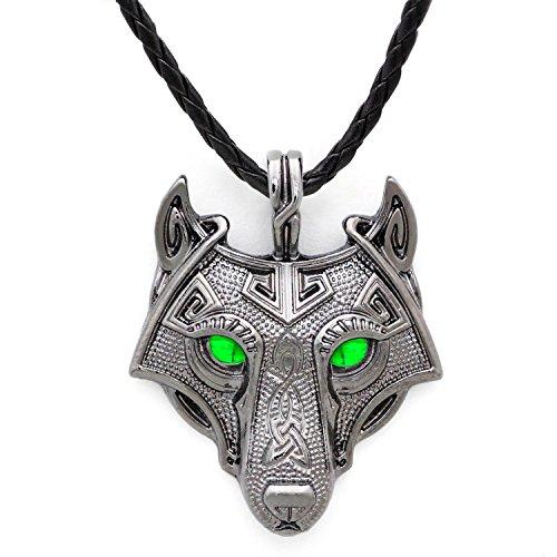 Einzigartige Wikinger Wolf-Anhänger, mit grünen Smaragd-Augen, handgefertigt, grau, Leder, antik