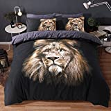 Eirene Threadz Bettwäscheset mit Kissenbezug, Baumwollmischgewebe, bedruckt mit Elefanten-, Katzen- und Einhorn-Design, Polycotton, löwe, Doppelbett