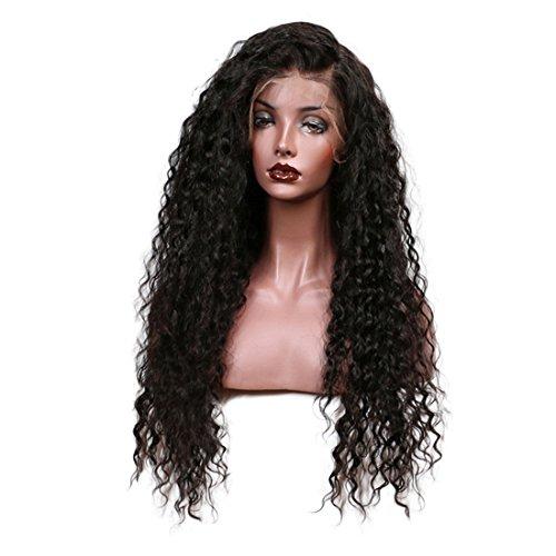 PINCHU 100% Lockige Lace Front Echthaar Perücken Für Frauen Pre Gezupft Brasilianische Remy Haar Perücke Gebleicht Knoten Schwarze Farbe,20Inches