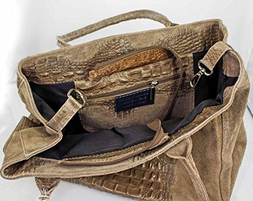 Vera Pelle Donna Borsa Tracolla In Pelle Borsa Shopper In Pelle Scamosciata (marrone Scuro) Taupe