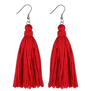 KELITCH Quaste Ohrringe Damen Handmade Baumwollgarn Quaste Ohrhänger Hängend Ethno für Mädchen Frauen