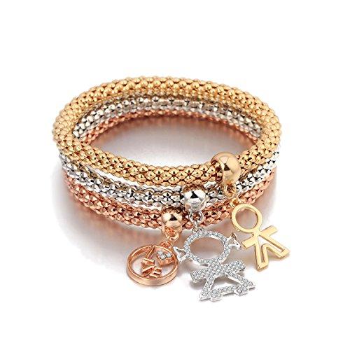 Braccialetto di fascino per le donne, bracciale a catena di mais allungato braccialetto in oro o argento per amicizia (mescola colore)