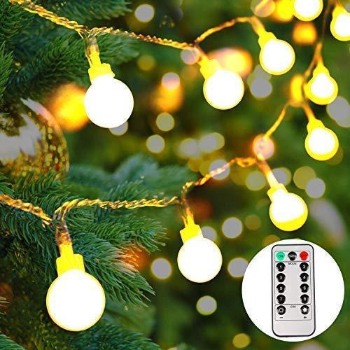 lichterkette batterie außen,50 LEDs Globe Lichterkette,LED Lichterkette warmweiß, Weihnachtsbeleuchtung für für Party, Garten,Hochzeit[5M] -