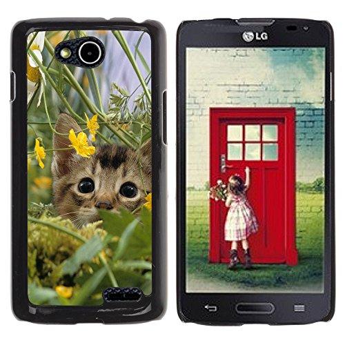 DREAMCASE Hart Handy SchutzHülle Hülle Schale Case Cover Etui für LG OPTIMUS L90 D415 - Cute Kitten Cat In Field
