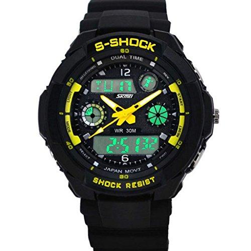 zolimx Multifunción S-Shock LED analógico Reloj Digital alarma resistente al agua (amarillo)
